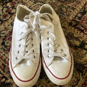 CONVERSE white low tops, gently worn